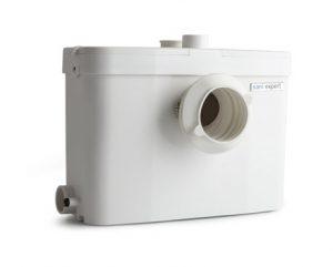 Saniexpert wc-pumppaamon liitännät ovat sivuilla ja ylhäällä