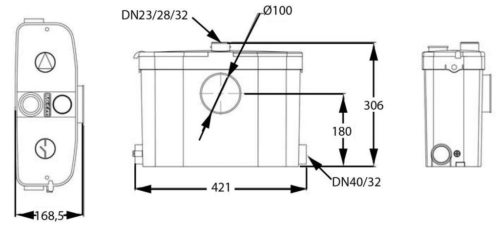 Saniexpert wc-pumppaamon mittakuva