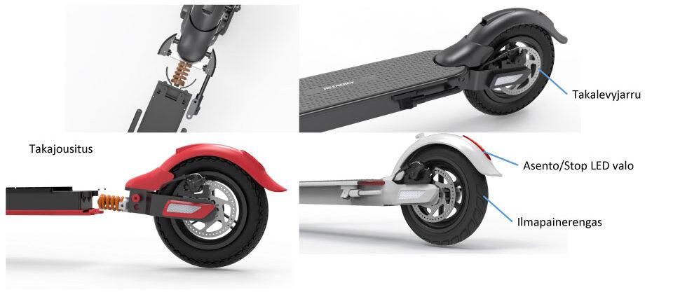 Sahkopotkulauta MS Energy N3 pyörät, renkaat ja jousitus