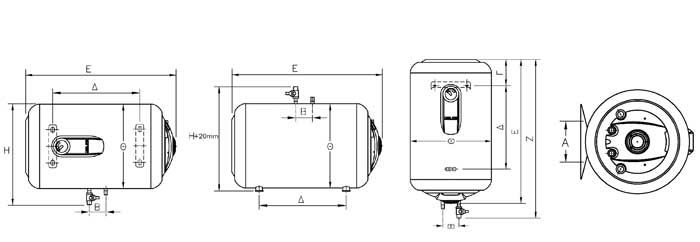 ELCO lämminvesivaraajat 10-120 litraa mittakuva