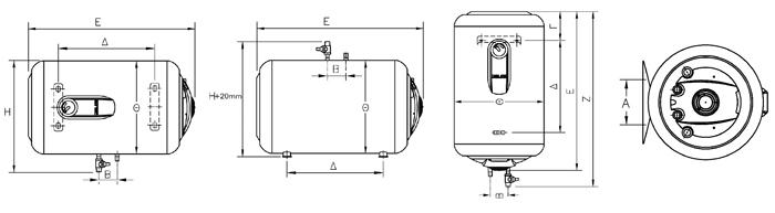 Elco lämminvesivaraajat mittakuva
