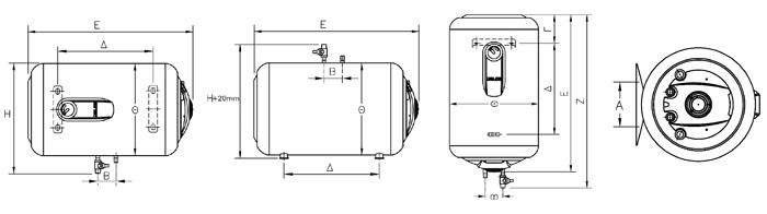 ELCO lämminvesivaraajat 10-120 litraa mitat